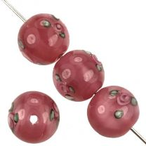 10MM Pink With Pink Floating Rose Handmade Lampwork Ball