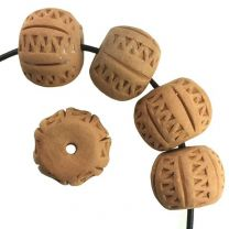 11x14MM Incised Terracotta Color Clay Ball