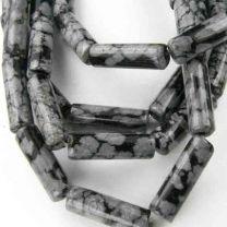 13X4MM Cylinder Snowflake Obsidian