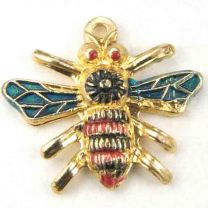 16x18MM_Gold_Bee_With_Green_Red_and_Black_Detail