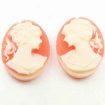 18X13MM Ivory On Coral Plastic Cameo