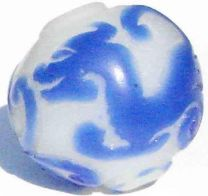 20MM Alabaster With Raised Cobalt Dragon