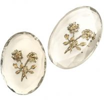 25X18MM Crystal with Gold Flowers