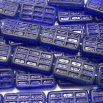 25x15MM Matte Cobalt Rectagle With Glossy Waffle Like Impression