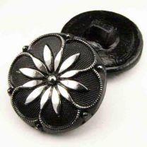 27MM Jet Glass Floral Button
