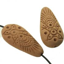 33x16MM_Incised_Terracotta_Color_Clay_Flat_Oval