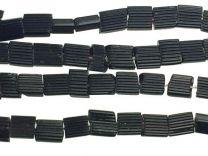 3mm Jet Black Ribbed Glass Rectangle