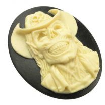 40x30MM Black Cabochon With Ivory Cowboy Skeleton Cameo