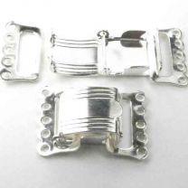 5 Strand Silver Plate Foldover Clasp
