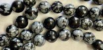 8MM Ball Snowflake Obsidian