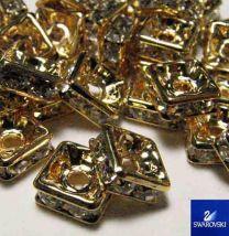 8MM Gold Quatra Swarovski Rhinestone Rondelle