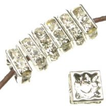 8MM Silver With Crystal Rhinestone Squaredelle