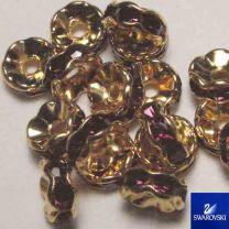 Amethyst with Gold 8MM Swarovski Rhinestone Rondelle