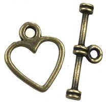 Antique Brass Plate 14x12MM Heart Toggle