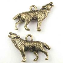 Antique Brass Plate 27x18MM Howling Wolf Charm