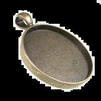 Antique Brass Plate 30MM Round Bezel Setting Pendant