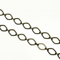 Antique Brass Plate 4x3MM Diamond Long Short Cable Chain