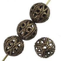 Antique Brass Plate 9MM Filigree Ball