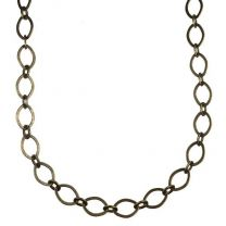 Antique Brass Plate 9x6MM Long Short Flat Cable Chain