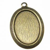 Antique Brass Plate Textured 18X13MM Bezel Setting