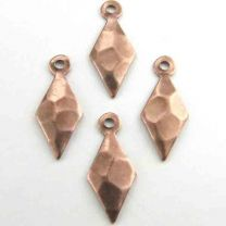Antique Copper Plate 15x6MM Hammered Diamond