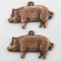 Antique Copper Plate 19x10 Pig Diestruck