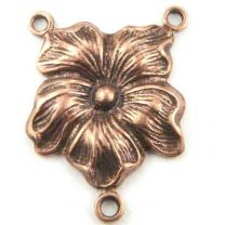 Antique Copper Plate 19x14MM 2 to 1 Pansy Flower Chandelier Connector