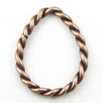 Antique Copper Plate 22x18MM Twisted Wire Tear Ring