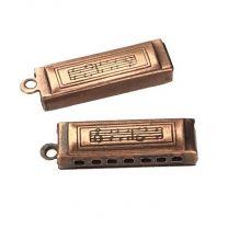 Antique Copper Plate 24x7MM Hollow Harmonica