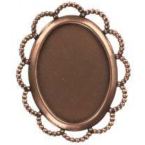 Antique Copper Plate 25X18MM Lace Edge Bezel Setting