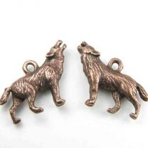 Antique Copper Plate 27x18MM Howling Wolf Charm