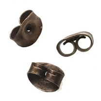 Antique Copper Plate 5x6mm Scroll Nut Post Back