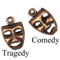Antique Copper Plate 9x8MM Reversible ComedyTragedy Mask