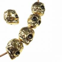 Antique Gold Plate 10x8MM Skull With Rose Detial