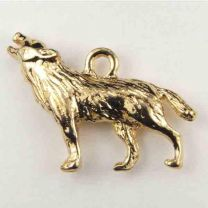 Antique Gold Plate 27x18MM Howling Wolf Charm