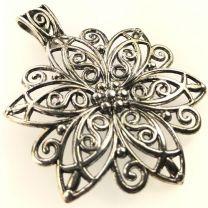 Antique Silver 65MM Flower Pendant