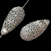 Antique Silver Bali Style 37x18x13MM Openwork Tear With 2MM Large Hole