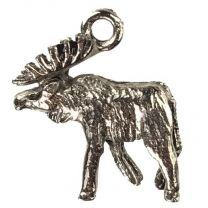 Antique Silver Plate 18x15MM Moose