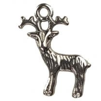 Antique Silver Plate 20x18MM Deer