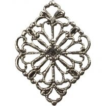 Antique Silver Plate 21x15MM Diamond Filigree Stamping