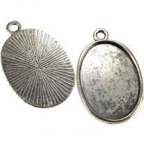 Antique Silver Plate 25x18MM Bezel Setting