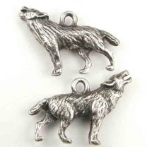 Antique Silver Plate 27x18MM Howling Wolf Charm