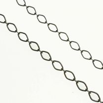 Antique Silver Plate 4x3MM Diamond Long Short Cable Chain