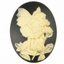 Black 40x30MM Cameo With Ivory Fairy