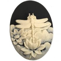 Black With Ivory 40X30MM Dragonfly Cameo