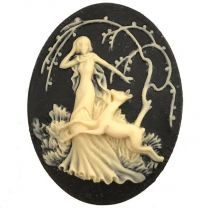Black With Ivory Art Deco Girl 40X30MM Cameo