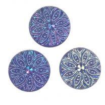 Blue Iris Marcasite Textured 13MM Cabachon
