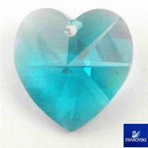 Blue Zircon 14MM Swarovski Heart Pendant