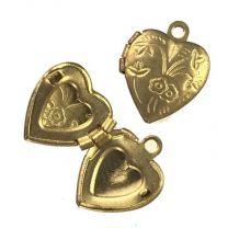 Brass 10MM Floral Heart Locket