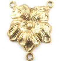 Brass 19x14MM 2 to 1 Pansy Flower Chandelier Connector